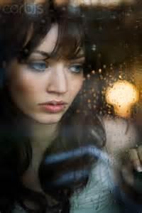 Rain girl gazing