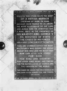 Tombstone of the Unknown Warrior in Westminster Abbey