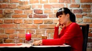 Lonely woman drinking and thinking
