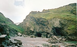 Tintagal Castle, Merlins Cave in Cornwall, England