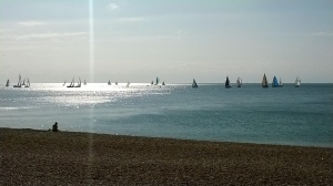 Sailing ships off Brighton Beach by Darren Greenidge