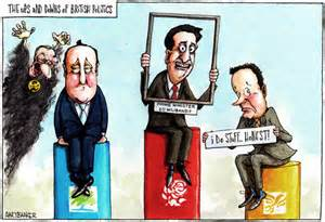 Cameron, Miliband, Clegg  by Political Cartoonist and Illustrator www.garybarker.co.uk