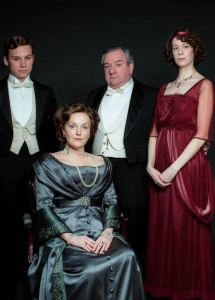 An Inspector Calls  Finn Cole as Eric Birling (far left), Miranda Richardson as Sybil Birling (seated front), Ken Stott as Arthur Birling (middle) and Chloe Pirrie as Sheila Birling (far right) -  BBC/Drama Republic - Photographer: Laurence Cendrowicz
