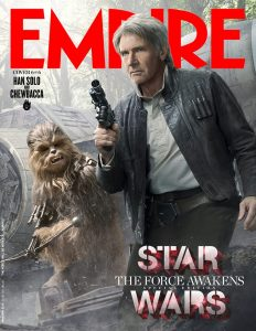 Harrison Ford as Han Solo, and Peter Mayhew as Chewbacca Picture courtesy of Empire Magazine